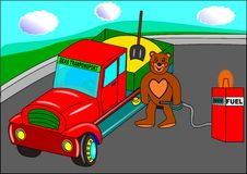 Bear transport. Animal automobile children red truck stock illustration