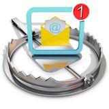 Bear trap with dangerous email. 3d rendering Royalty Free Stock Image