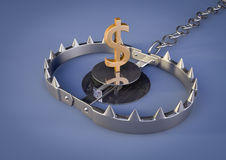 Bear trap with dollar. 3d render of a Bear trap with a golden dollar inside Royalty Free Stock Images
