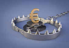 Bear trap with euro. 3d render of a Bear trap with a golden Euro inside Stock Image