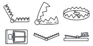 Bear trap icons set, outline style. Bear trap icons set. Outline set of bear trap vector icons for web design isolated on white background royalty free illustration