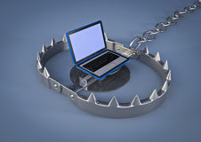 Bear trap with laptop. 3d render of a Bear trap with a laptop inside Stock Photos