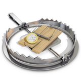 Bear trap and mousetrap with euro coin Royalty Free Stock Photography