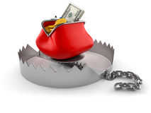 Bear trap with purse. On white background stock illustration