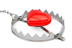 Bear trap with red heart, 3D rendering. Isolated on white background Royalty Free Stock Photos