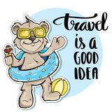 Bear traveler. Travel is a good idea Royalty Free Stock Photography