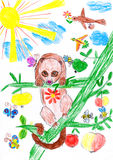 Bear on tree childs drawing Royalty Free Stock Photos