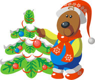 Bear with tree color 08. Bear with tree in color 08 vector illustration