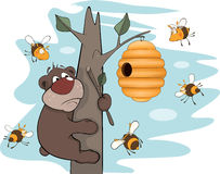 Bear cub and bees. Cartoon. Bear on a tree in an environment of bees Stock Images