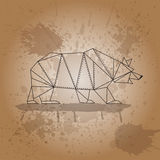 Bear from triangles outline strokes on brown background and watercolor splashes Royalty Free Stock Photos