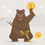 Bear trowing the coin down on the floor. stock illustration