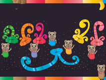 Bear umbrella colorful swirl card Stock Photography