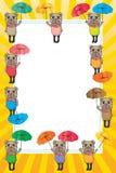 Bear umbrella frame card Stock Photo