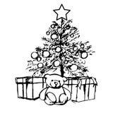 Bear under the Christmas tree Royalty Free Stock Photography