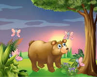 A bear under the tree with four butterflies Stock Photo
