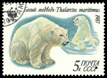 Bear, Ursus maritimus. USSR - stamp printed in1987, Series Fauna, World Wildlife Fund, Polar Bear, Ursus maritimus Stock Photos