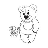 Bear. Vector illustration. Teddy bear with a bouquet of flowers. Vector illustration. Greeting card Stock Images