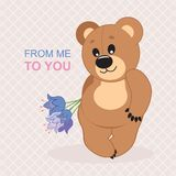 Bear. Vector illustration. Teddy bear with a bouquet of flowers. Vector illustration. Greeting card Royalty Free Stock Photography