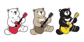 Bear vector polar bear guitar bass ukulele music cartoon character icon logo illustration vector illustration