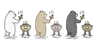 Bear vector Polar Bear icon cartoon character picnic camping barbecue grill travel doodle illustration stock illustration