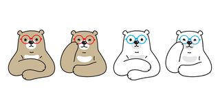 Bear vector polar bear icon glasses character cartoon logo illustration teddy doodle. Cute vector illustration