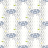 Bear vector seamless pattern with triangles  Stock Images
