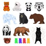 Bear vector wild animal wild angry brown, grizzly, cute panda and polar bear cartoon character teddy and jelly Royalty Free Stock Photos
