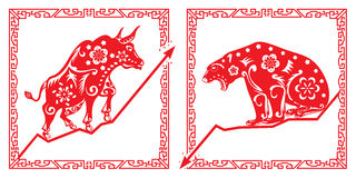 Bear Vs Bull in Chinese paper cut style Royalty Free Stock Photo
