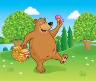 Bear Walking with Picnic Basket Stock Photography