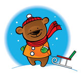 Bear in warm coat with sleigh Royalty Free Stock Photography