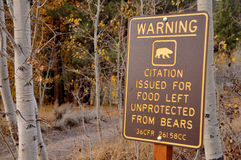 Bear Warning Sign. In National Park Campground Stock Photo