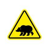 Bear Warning sign yellow. Predator Hazard attention symbol. Dang. Er road sign triangle wild beast Royalty Free Stock Photo