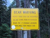 Bear Warning sign, Yosemite National Park Royalty Free Stock Photo