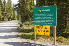 Bear warning signs. Posted at campsite in Yukon, Canada royalty free stock photo