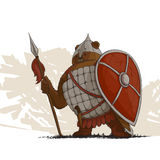 Bear warrior with a spear. And shield on white Royalty Free Stock Photography
