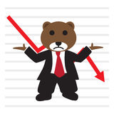 The bear wear business suit in front of bearish stock market gra Stock Photo