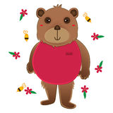Bear wear pink cloth cute bee flower Stock Images