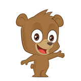 Bear in welcoming gesture. Clipart picture of a bear cartoon character in welcoming gesture Royalty Free Stock Images