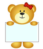 Bear with white board Royalty Free Stock Photo