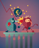 Bear win over the bull in stock market and euro crisis. Effect by greece debt payment schedule Royalty Free Stock Image