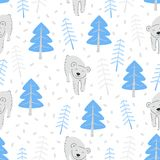 Bear in a winter forest seamless pattern. Bear in a winter forest. Seamless pattern vector illustration Royalty Free Stock Image