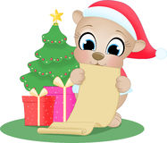 Bear with wish list Royalty Free Stock Image