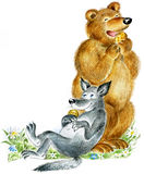 Bear and wolf eat cookies royalty free illustration
