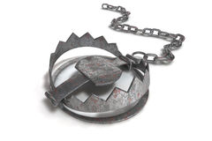 Bear or wolf trap. Iron chain with close trap on white background Stock Photo