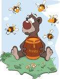 Bear and a wooden keg with honey. Brown bear with honey in an environment of bees vector illustration