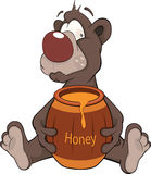 Bear and a wooden keg with honey. Cartoon Stock Photo