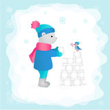 Bear in the woods building a castle made of snow. Vector illustration. Stock Image