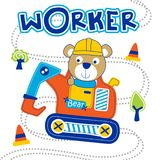 Bear the worker funny animal cartoon,vector illustration. For t shirt and wallpaper or book stock illustration