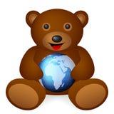 Bear with world globe Royalty Free Stock Photos