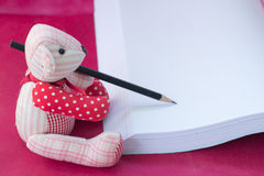 bear write the book Stock Photography